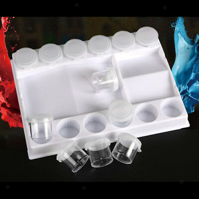 Artist Paint Pallet Painting Tray Palettes Plastic Palette Box with Mini Cup