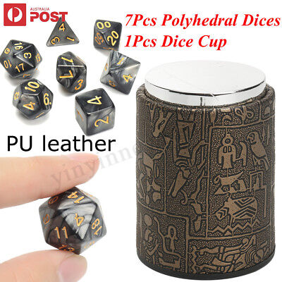 7Pcs Polyhedral Dice Set for Dungeons and Dragons D4-D20 Dice Dice Cup Games AU