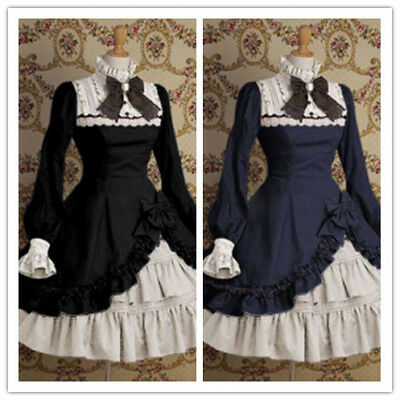 Women's Dress Lace Stitching Bow Popular Pricess Lolita Dress Plus Retro Dress