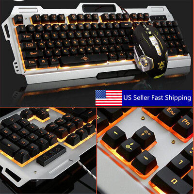 1Set Gaming Mechanical Keyboard USB Wired Colorful Backlight PC Gamer With Mouse