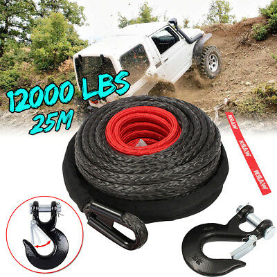 25m 12000LBS Synthetic Winch Rope Recovery Fiber Cable & Steek Hook Wire 4X4