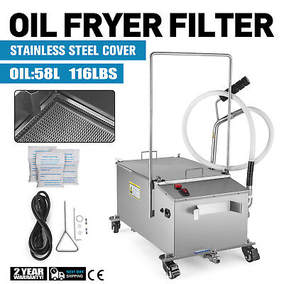 58L Fryer Oil Filter Machine Commercial Oil Filtration System w/ Stainless Lid