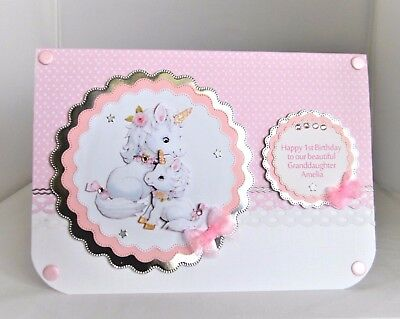 Handmade Personalised Unicorn 1st 2nd 3rd Etc Birthday Card Granddaughter