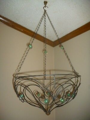 Set of 2 Antique Victorian Metal Wire Hanging Basket Garden Planter w/ Marbles