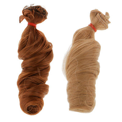 2Pcs 15x100cm DIY Wig Curly Hair for BJD Doll DIY Supplies Brown Coffee