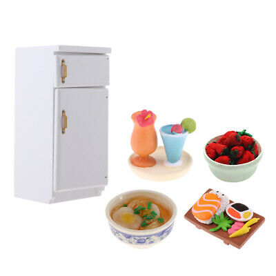 1/12 Dollhouse Fridge Appliances Wooden Refrigerator Toys & Food Dessert Set