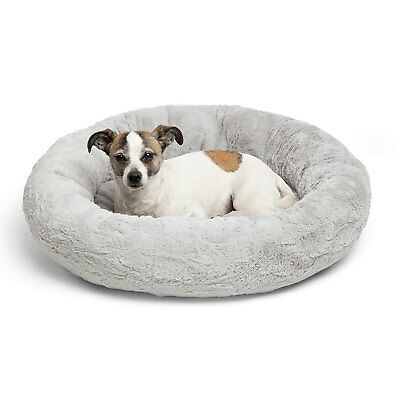 Best Friends by Sheri Orthopedic Relief Donut Cuddler Dog Bed in Gray Lux Fur