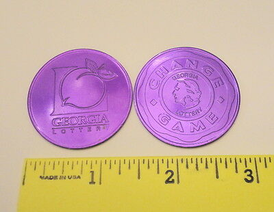 TWO - Vintage New Georgia Lottery Promo Scratch Off Coins - Purple color