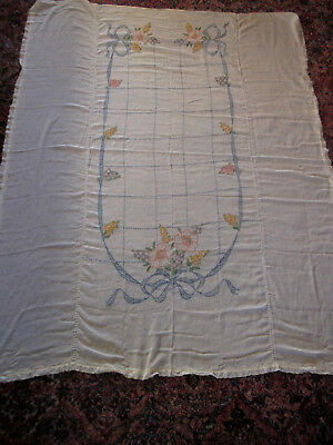 vintage twin hand embroidered bedspread sheer gauze 82X66