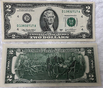 AMERICAN US - TWO DOLLAR BILL NOTE $2 - RARE GREAT COND + COLLECTIBLE Very cool