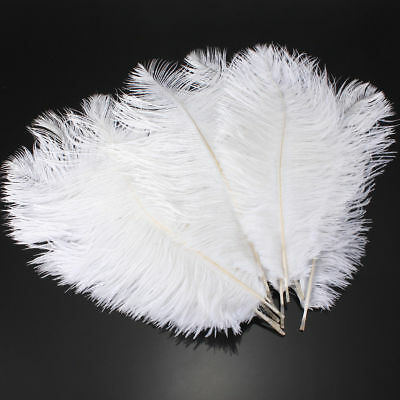 10-100Pcs White Ostrich Feathers Plume 15-45cm Wedding Costume Craft Wholesale