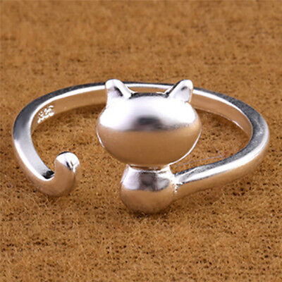 Silver Plated Opening Adjustable Ring Lovely Cat Ring Lady Statement Jewelry ST