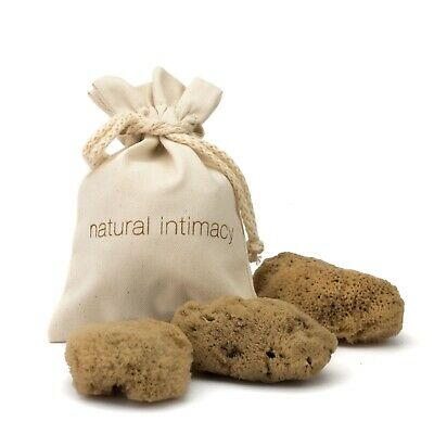 IntimateCare Sea Sponges - 3x Medium - Unbleached - In Organic GOTS Cotton Bag