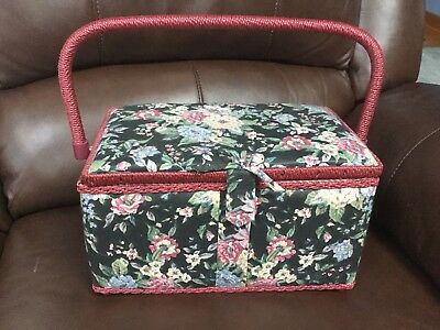 """Vintage Floral Fabric Covered Wooden Sewing Box Basket w/Handle ~ 11""""x 7""""x 6"""""""