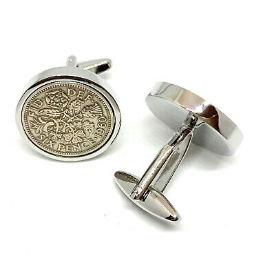 60th Birthday gift 1959 Lucky Sixpence Luxury Coin Cufflinks - ideal gift