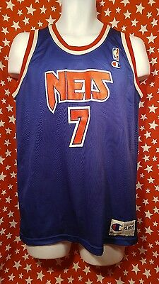 90S VTG KENNY ANDERSON CHAMPION USA NEW JERSEY NETS NBA JERSEY Youth XL  RARE OG 5ac73c51d