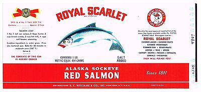 Original Tin Can Label Vintage Salmon Scarce Royal Scarlet Williams Ny Ny C1950S