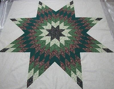 """Lone Star Patchwork Quilt Top """"Green & Sm Rose"""" PIECED~USA~Medallion Top 64""""Sq"""