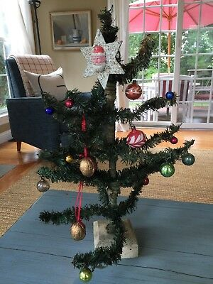 Early Antique Germany German Feather Tree & Ornaments Putz Tabletop Rare