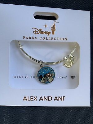 New Disney Parks ALEX AND ANI 2019 Mickey & Minnie Mouse Silver Bangle Bracelet