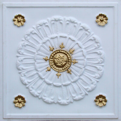 # 151 (Lot of 5)  PVC Faux Tin Decorative Ceiling Tile Panels White Matt/Gold