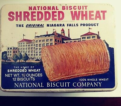 Vintage 1987 National Biscuit Shredded Wheat Tin Antique Box NIAGARA FALLS