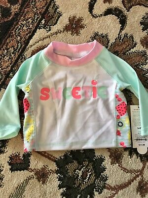 3f5da4290b3d Baby Girl Rashguard Swim Shirt Long Sleeve Pink White Fruit NWT 3 6 Months  Cat