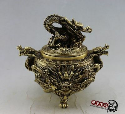Old China Collectible Handwork Exquisite Bronze Dragon  Incense Burners Jar