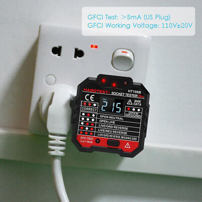 Tester Circuit Polarity Voltage Detector Wall Plug Breaker Socket Outlet HT106B