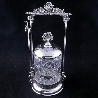 Eastlake Brooklyn silver plate pickle castor with pattern jar c1870