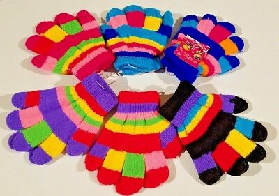 Children's Knit Gloves 6 Pairs, Boys or Girls, Kids, Assorted Colors SHIPS FREE!