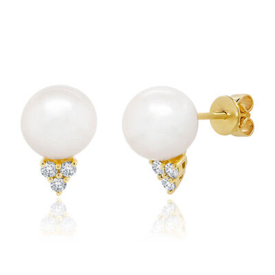 0.14CT 14K Yellow Gold Fresh Water Pearl 3 Stone Natural Diamond Stud Earrings