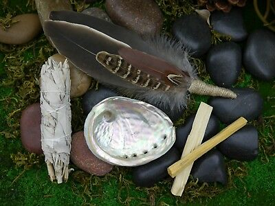 Smudging Kit  Feather Wand ( Abalone Shell 9.5cm ) White Sage, Palo Santo Smudge