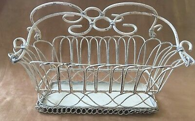 VTG Wire Flower Basket Pot Holder Planter Shabby Chic Rustic Home Decor White