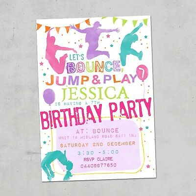JUMPING TRAMPOLINE PERSONALISED Pink Girls Party Invites Birthday X10