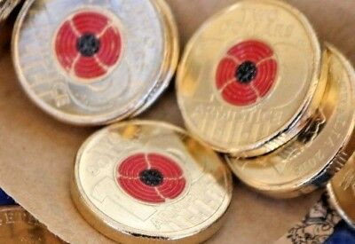 $2 COLOURED COIN REMEMBRANCE DAY 100 years 11.11.1918 ARMISTICE CENTENARY