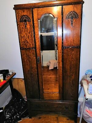 Beautiful Edwardian Wardrobe - mirrored single door
