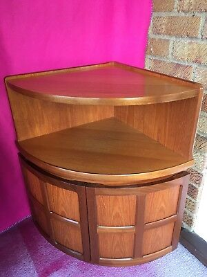 Vintage Retro Mid Century NATHAN TEAK Curved Bow Fronted Corner Cupboard / Unit