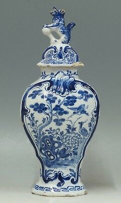 @ VERY GOOD @ Antique Tinglazed 18th C Dutch covered Delft vase Porcelain Claw