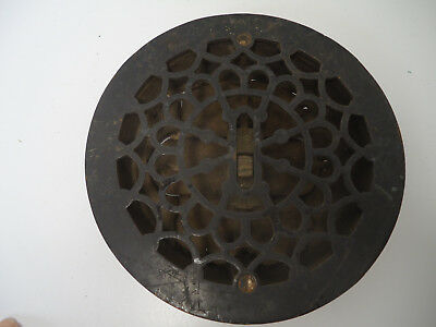 "Antique Round 8"" Cast Iron Floor Heat Vent Grate Register Louvers Architectural"