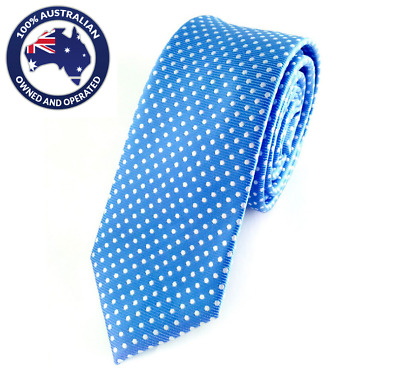 Men's Skinny Tie Sky Blue with White Polka Dots 6CM Slim Thin Wedding Neck Ties