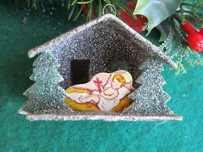 Vintage Putz&black Glitter House Babyjesus Manger& Red Cellophane Xmas Ornament