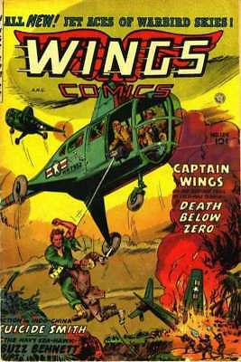 Wings Comics #124 in Very Good condition. Fiction House comics [*f7]