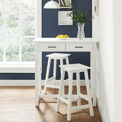 Small Dining Table Set Pub Kitchen Breakfast Nook Apartment White 3-Piece Drawer