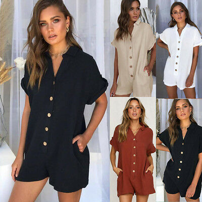 2019 Fashion Spring Tshirt Button Jumpsuit  For Holiday Beach Short Rompers