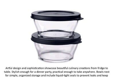 Tupperware Clearly Elegant 1 3/4 Cup Bowls, Serving Storage set of 2