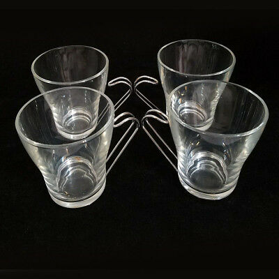 Vitrosax Italy Set Of Four Coffee Mugs Stainless Wire Handle And Base