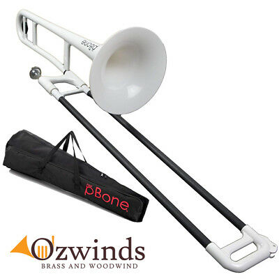 pBone Trombone (White and Black) with carry bag.