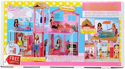 New Mattel Barbie House 2 Story 3 Dolls Girl Dream Townhouse Play