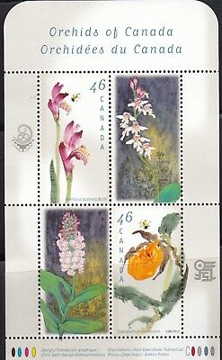 CANADA 1999 CANADIAN ORCHIDS SOUVENIR SHEET # 1790b MNH WITH 4 x 46c STAMPS